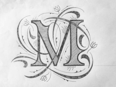 M illustration texture flourishes lettering