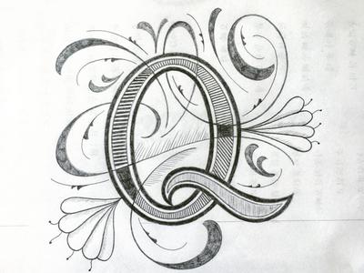 Q illustration flourishes lettering