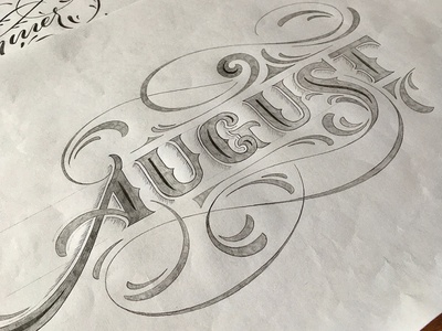 August flourishes lettering