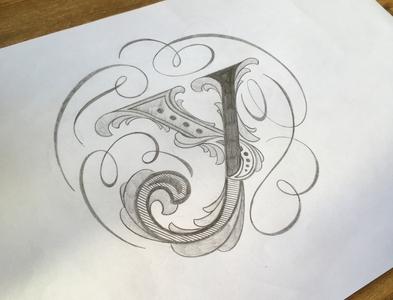 Y-Letter sketch flourishes lettering