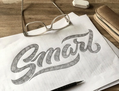 Smart, smarter, Smarties :) sketch script flourishes lettering