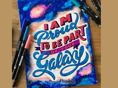 Galaxy illustration script lettering