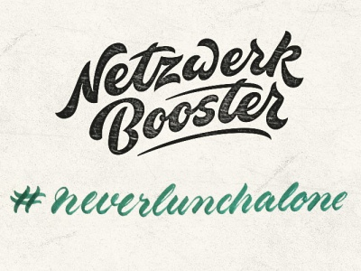 Neverlunchalone texture script lettering
