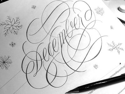 December illustration sketch flourishes lettering
