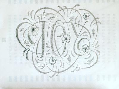 Joy sketch flourishes lettering