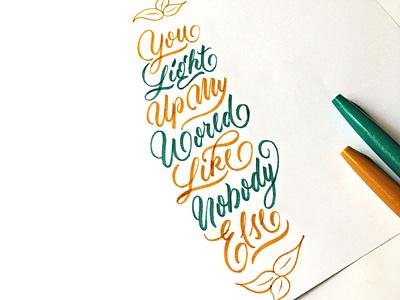 Quote (One Direction) brushlettering brush flourishes lettering