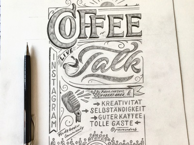 CoffeeTalk design sketch lettering
