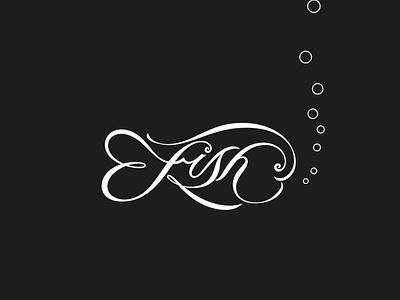 Fish illustration script lettering