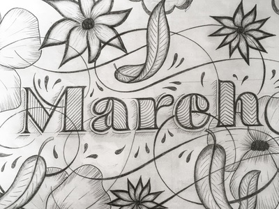 March illustration flourishes lettering