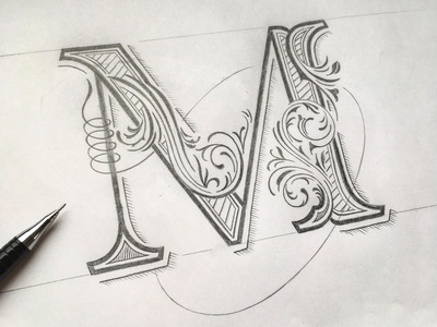 M sketch flourishes lettering