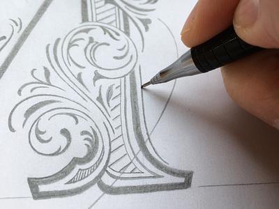 Detail sketch flourishes lettering