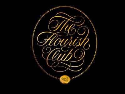 The Flourish Club logo script flourishes lettering