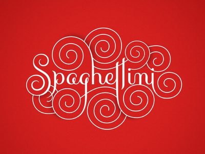 Spaghettini script flourishes lettering