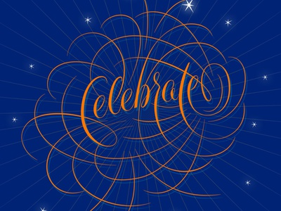 Celebration script flourishes lettering