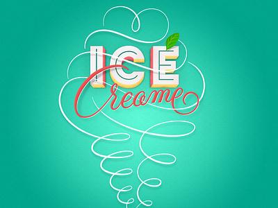Ice Cream(e) illustration texture flourishes lettering