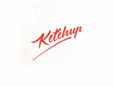 Ketchup brush lettering