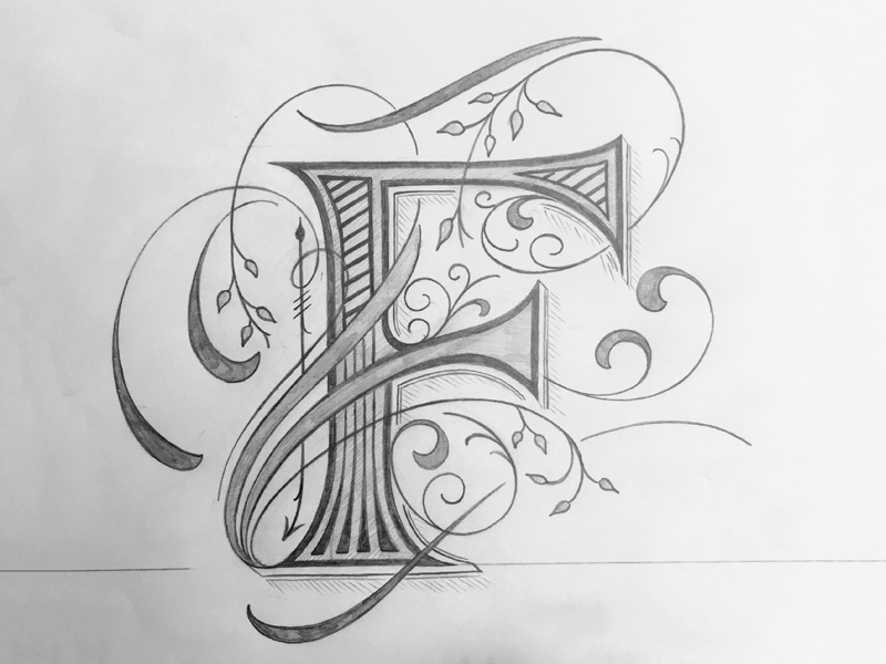 Lettering F sketch flourishes lettering