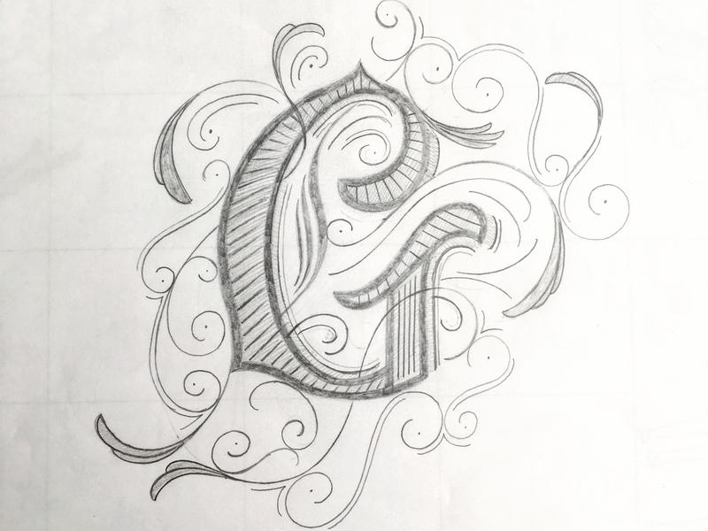 Lettering G sketch flourishes lettering