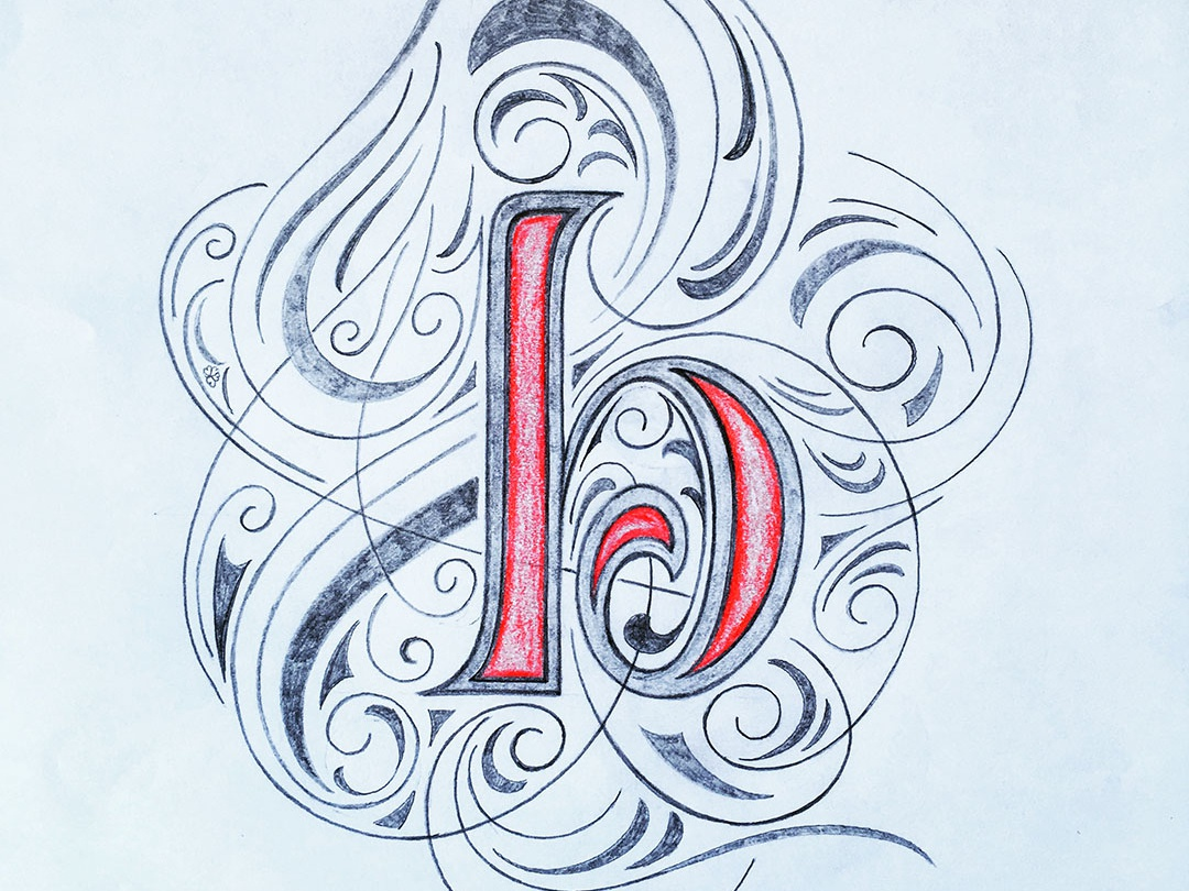 Letter b sketch flourishes lettering