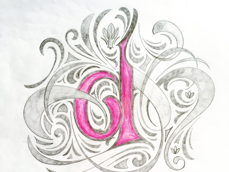 d - Lettter sketch flourishes lettering
