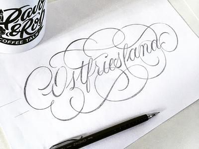Ostfriesland sketch flourishes script lettering