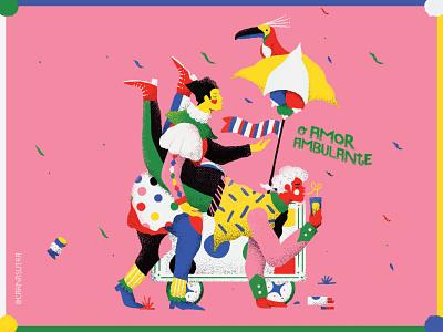 Love Vendor guy pattern illustration bird toucan monarch pierrot clown costume lovers kamasutra couple brasil brazil carnaval love
