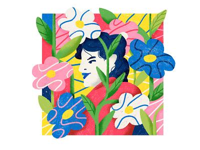Sabine plants girl illustration floral florwer