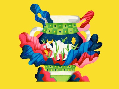 Cow Vase cerrado pantanal colorful abstract liquid brazil cow illustration