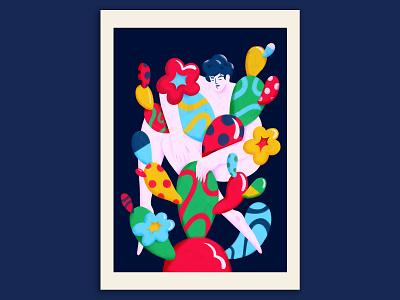 Inner grow balloon latino brazil mind human person abstract cactus illustration mental health mental