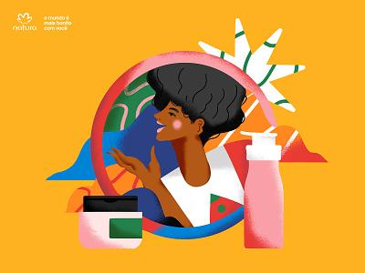 Natura 01 woman beauty cosmetic brazil natura illustration