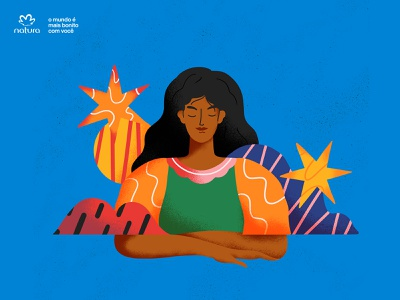 Natura 02 brand identity abstract latin woman inner peace yoga peace cosmetic brasil illustration