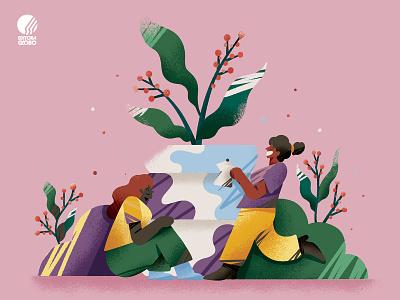 Globo Rural Coffee Market colombia latin brazil illustration vase plant happy coffee shop coffee
