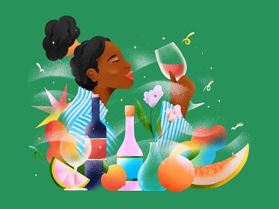 Wine and Fruits editorial fruit illustration flower bottle drink fruit wine