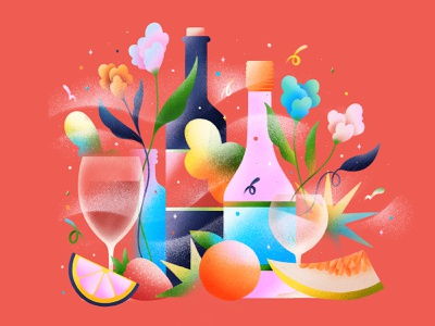 Society and Wine brazil illustration texture effect gradient flower melon fruit wine glass drink wine bottle