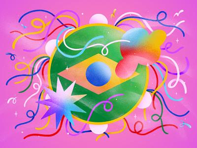 Tambourine jolly fun carnival carnaval brazilian music art samba brazil music illustration