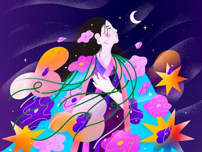 Princess Kaguya sakura kimono gueisha asian japanese ghibli illustration