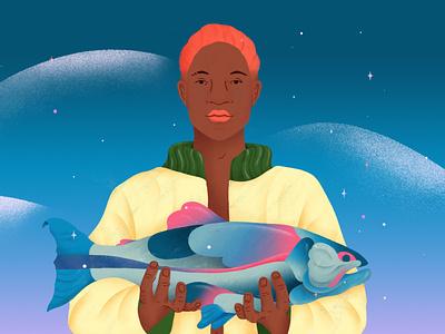 Miguel jacket fashion portrait fisherman fish brazil illustration
