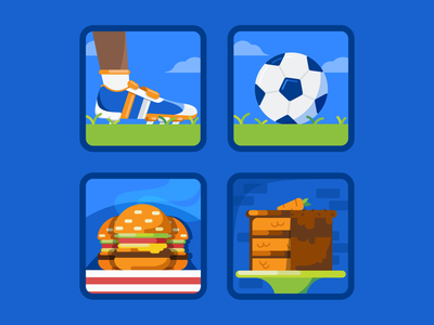 Play and Eat Icons football carrot cake cake soccer ball soccer burgers icons icon