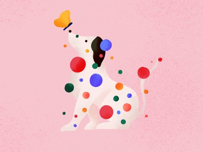 Dog and butterfly illustration pattern colorful dots
