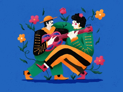Mariachi love 03 lovers people person latina latino flower colorful illustration music latin mexico guitar couple love amor
