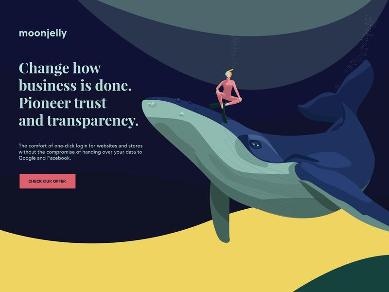 Moonjelly keyvisual startup marketing startup branding moonjelly transparency waves oceanic diver wale ocean brand design illustration brand website web typography design graphic design logo art direction branding