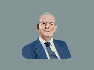 William Edwards Deming portrait - for Volkswagen elearning portrait illustration