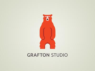 Grafton Logo logo branding bear red ui ux identity light