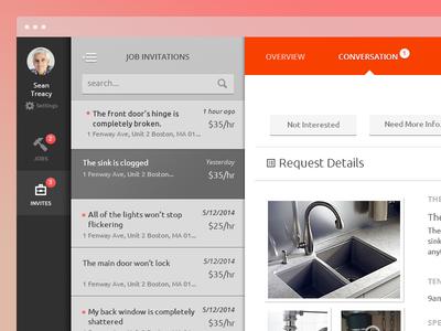 Property Management Web App ui ux clean dynamic web app application simple navigation list view dark