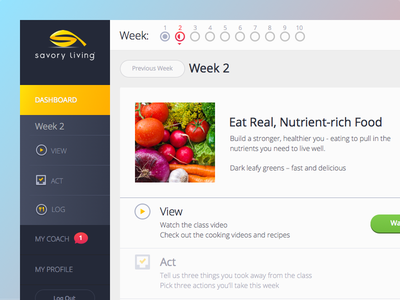 Savory Living Responsive Web Application navigation dashboard app food living course simple clean web app ui ux health
