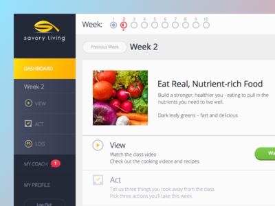 Savory Living Responsive Web Application navigation dashboard app food living course simple clean web app ui ux health