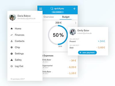 Quickpay App Concept menu payment ux ui app