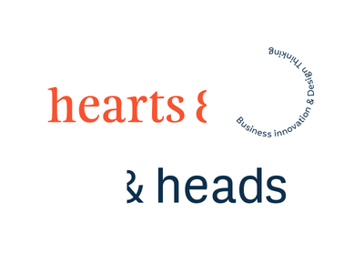 hearts & heads design thinking typography logo