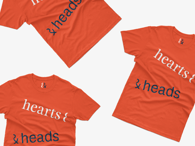 hearts & heads t shirt typography brand navy red head heart branding