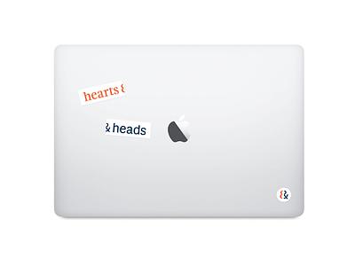hearts & heads stickers sticker navy red brand head heart branding